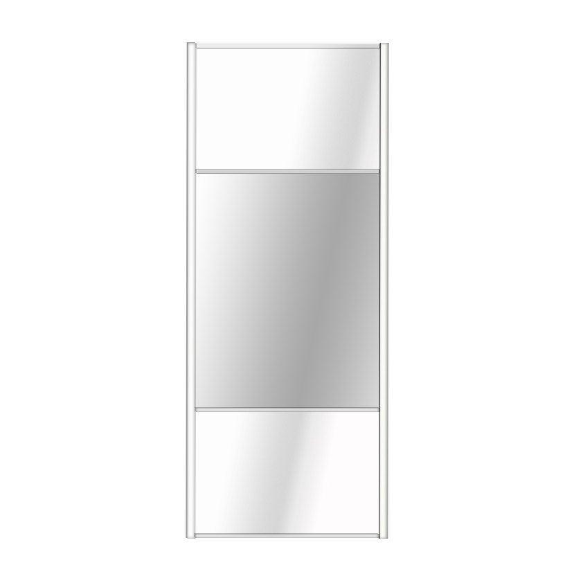 Porte De Placard Coulissante Blanc Brillant  Miroir Spaceo L X