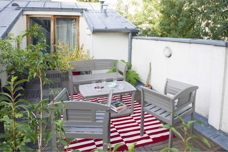 Salon de jardin acacia chêne cendré vieilli , 4 personnes, CITY GREEN