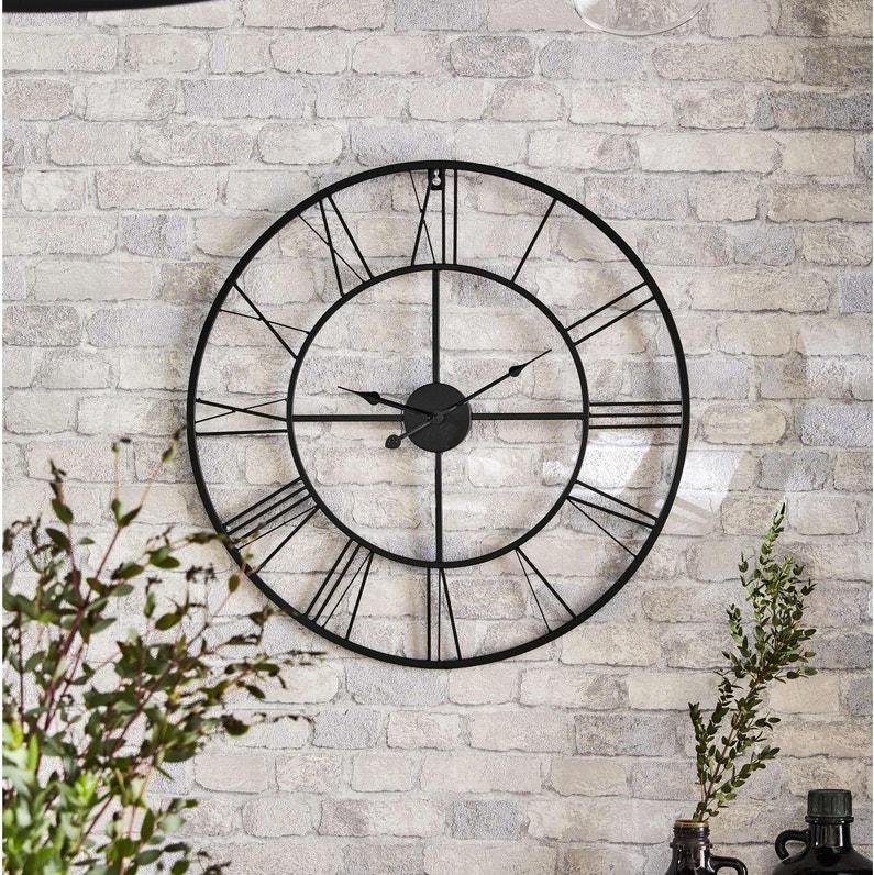 Horloge Métal Atelier Noir Diam60 Cm