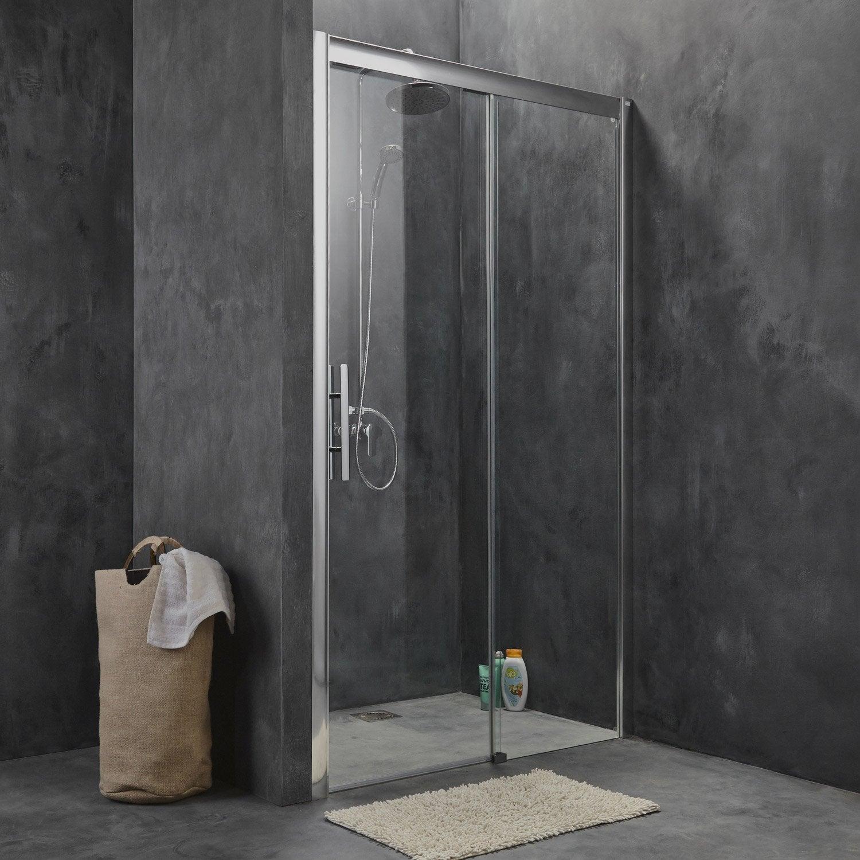 Porte de douche coulissante 150 cm transparent adena for Miroir 2m sur 1m