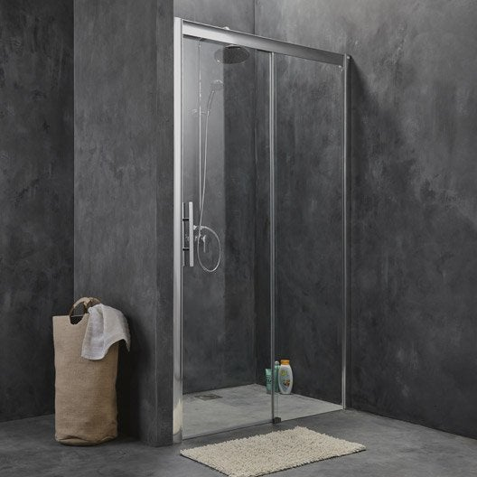 Porte de douche coulissante 140 cm transparent adena for Porte coulissante salon 140 cm