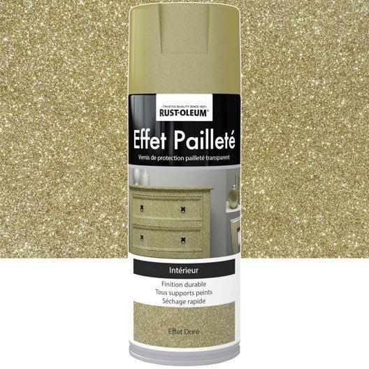 Peinture a rosol effet paillettes paillet rustoleum dor 0 4 l leroy merlin - Peinture pailletee avis ...