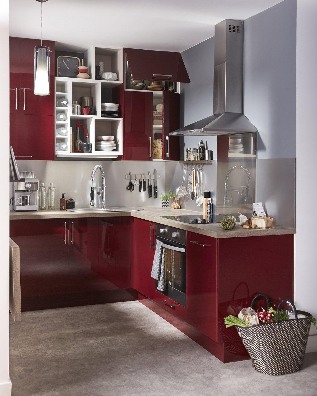 cuisine gris argent rouge contemporain actuel - Cuisine Grise Et Rouge