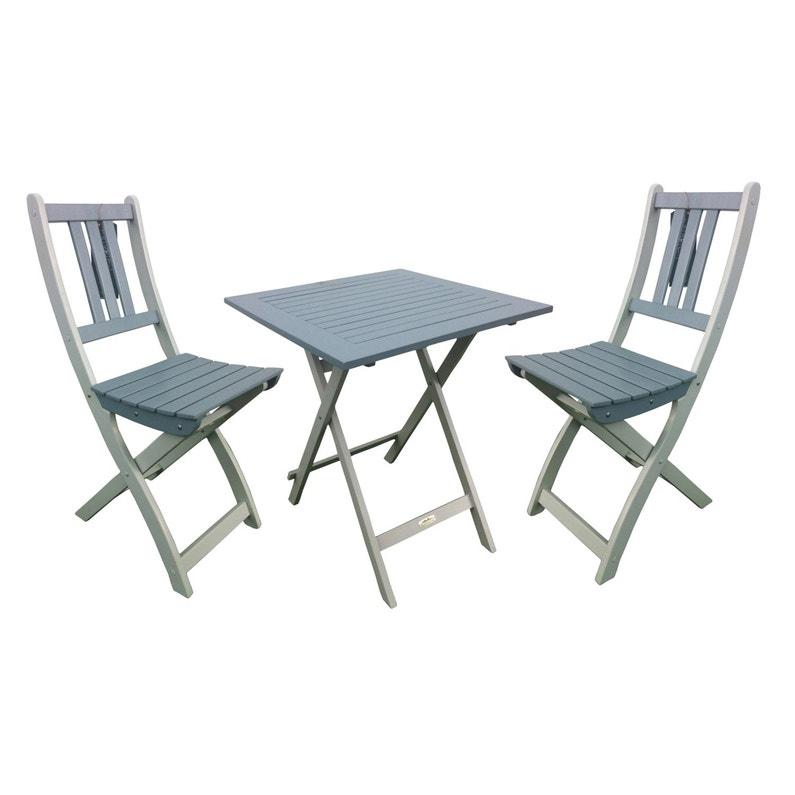 Table de jardin CITY GREEN Burano carrée gris 2 personnes | Leroy Merlin