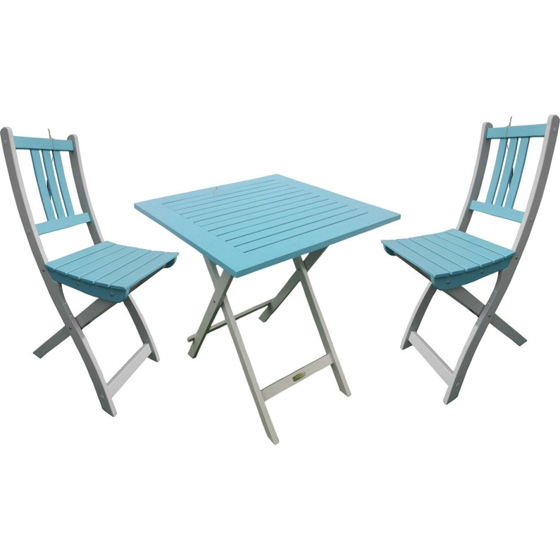Table de jardin CITY GREEN Burano carrée bleu 2 personnes | Leroy Merlin