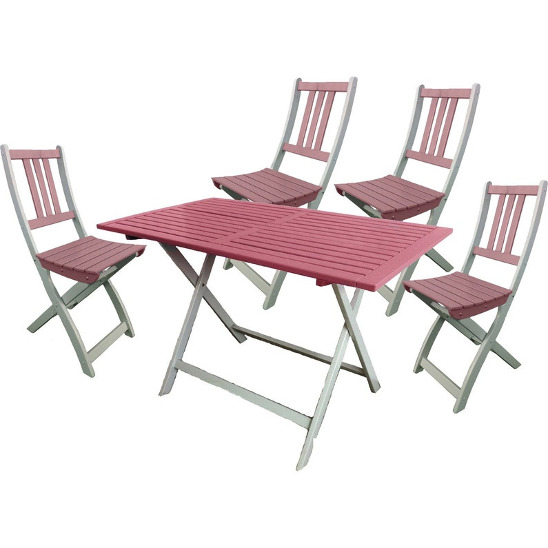 Table de jardin CITY GREEN Burano rectangulaire rose 4 personnes ...