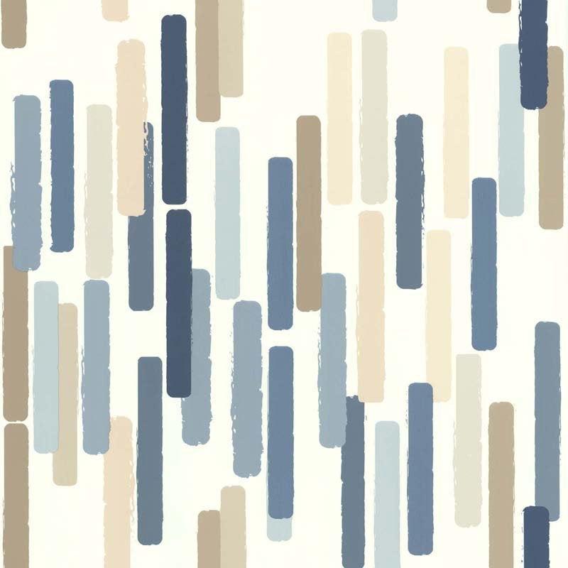 Papier peint vinyle Color stick bleu beige