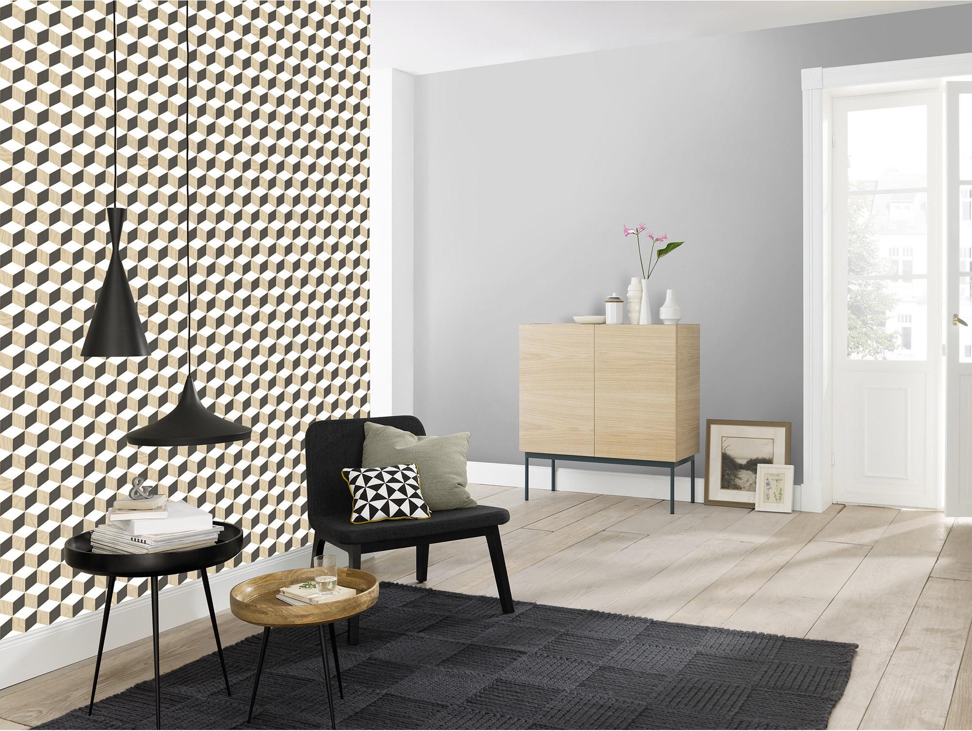 Papier peint intissé Escalier cubic noir/blanc/bois