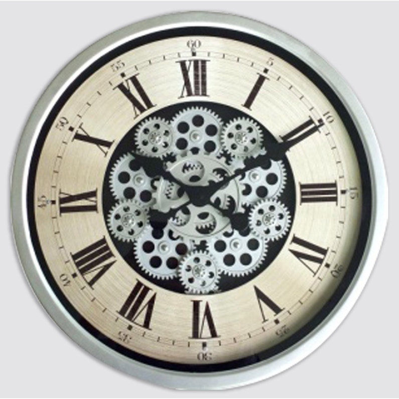 Horloge Métal Rond Mécanisme Gris Diam46 Cm