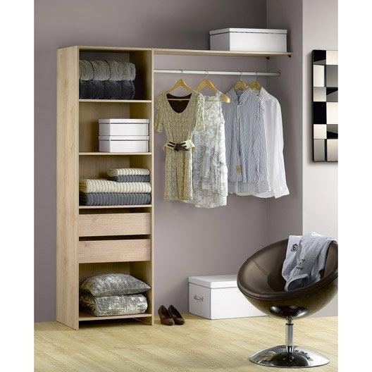 kit dressing effet ch ne naturel modul 39 kit x x cm leroy merlin. Black Bedroom Furniture Sets. Home Design Ideas