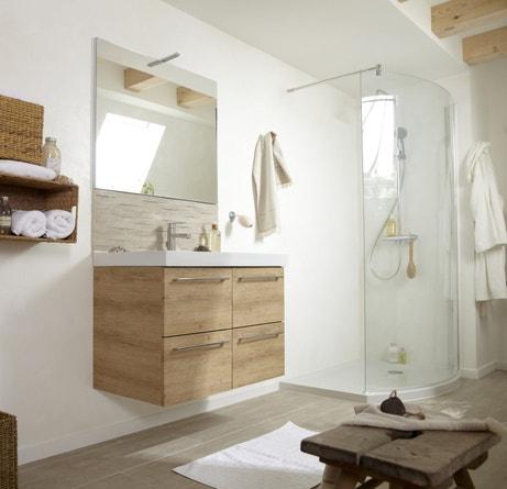 Une salle de bains blanche et bois pour un esprit naturel