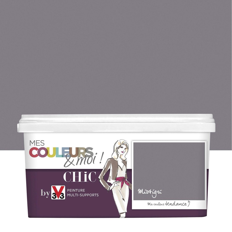 peinture gris mistigris v33 mes couleurs et moi chic 2 5 l leroy merlin. Black Bedroom Furniture Sets. Home Design Ideas