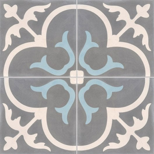 Carreau de ciment premium ch teau gris bleu 40 x 40 cm for Carreaux faience