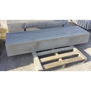 Plaque pour clôture droite en béton pleine, L.192 x H.25 cm x Ep.35 mm