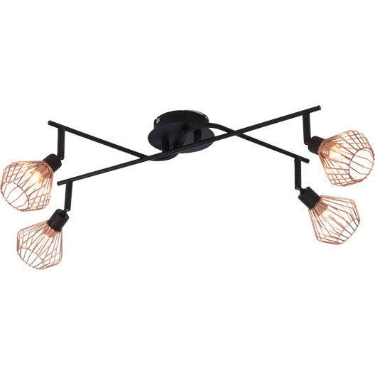 rampe 4 spots industriel dalma 4 xg9 noir brilliant leroy merlin. Black Bedroom Furniture Sets. Home Design Ideas