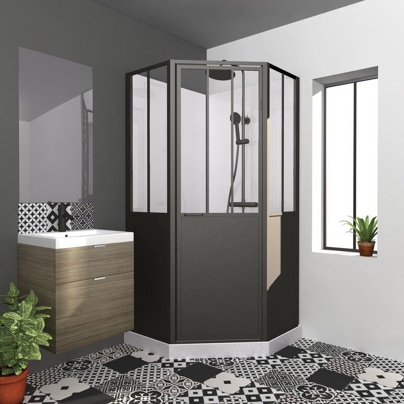 Cabine de douche 1/4 de cercle L.100 x l.100 cm, Atelier | Leroy