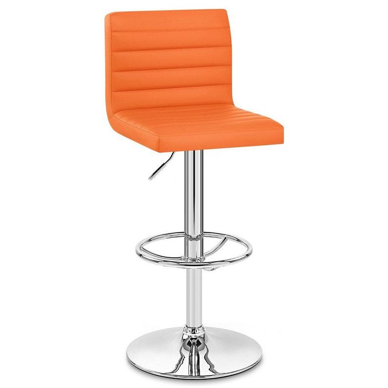 Tabouret de bar design, simili cuir, orange, Mint