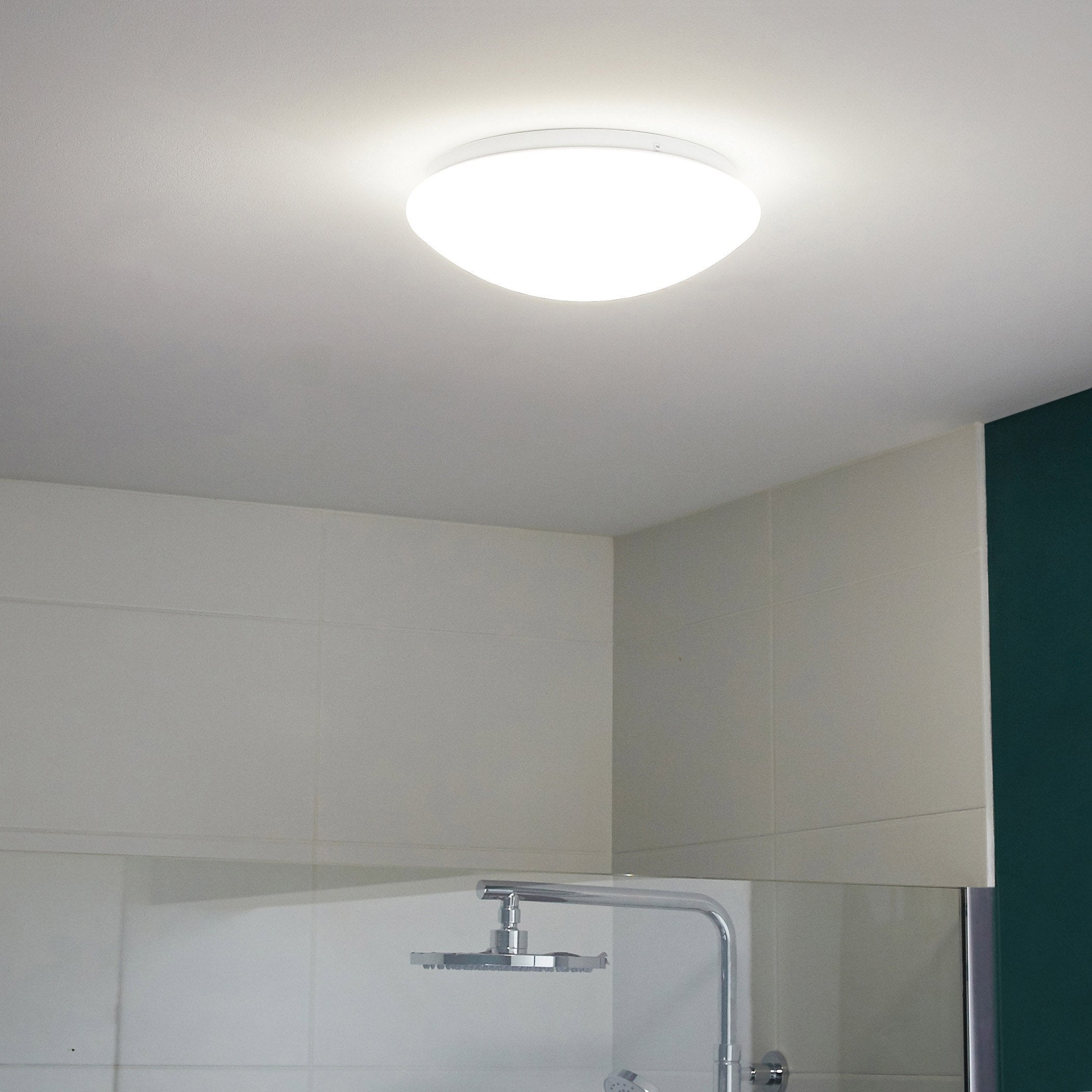 Plafonnier, classique plastique LED intégrée, blanc froid, Madyled D.25 cm
