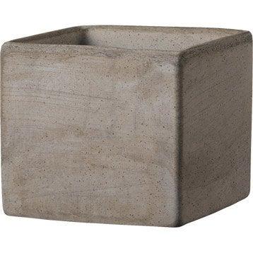 Cube terre cuite DEROMA Diam.18 x H.15.3 cm terre cuite grise