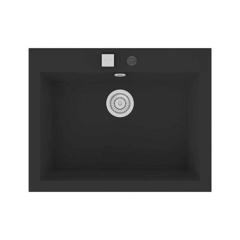 Evier A Encastrer Quartz Et Resine Noir Shira 1 Cuve Leroy Merlin