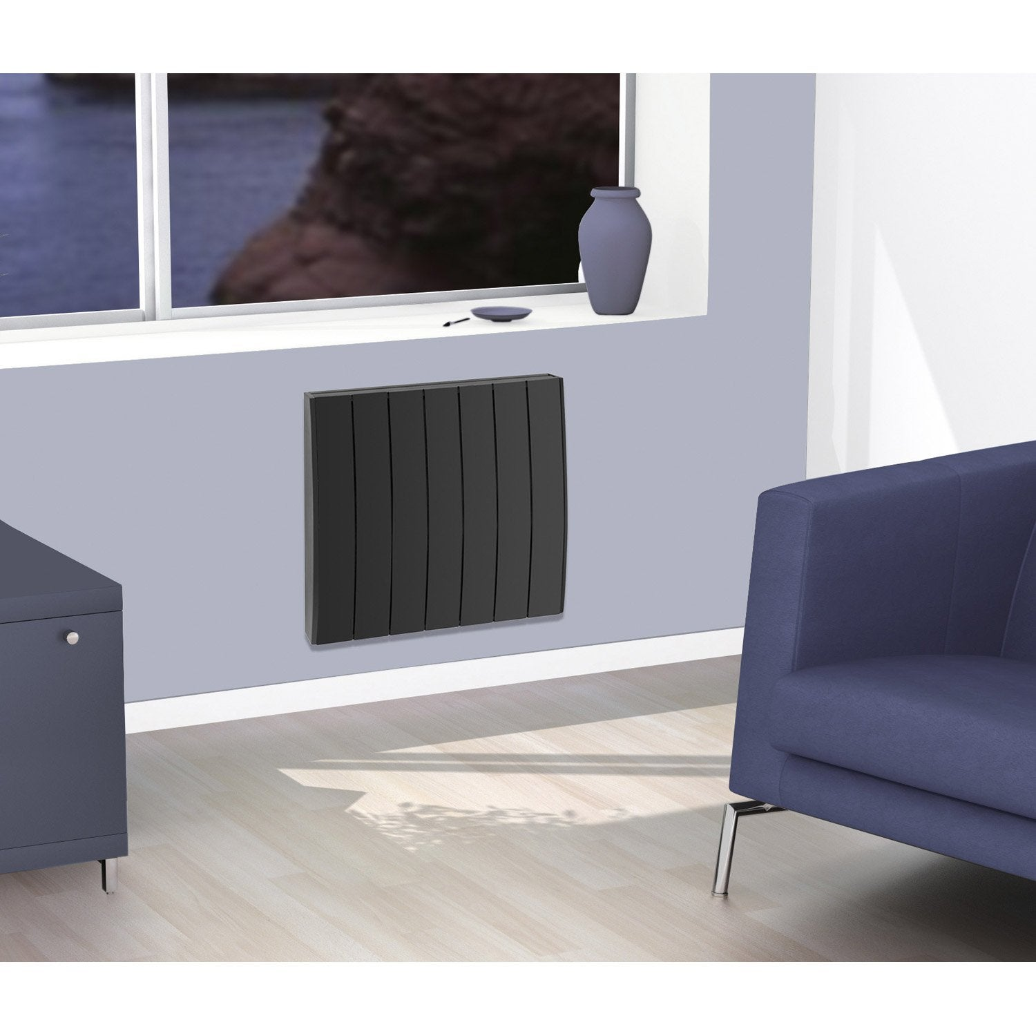 radiateur lectrique inertie pierre concorde pyrite 2 1000 w leroy merlin. Black Bedroom Furniture Sets. Home Design Ideas