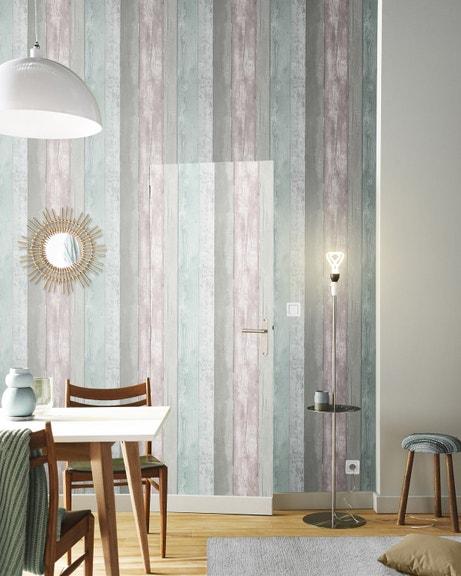Un papier peint à impression bois recyclé pastel pour un style scandinave