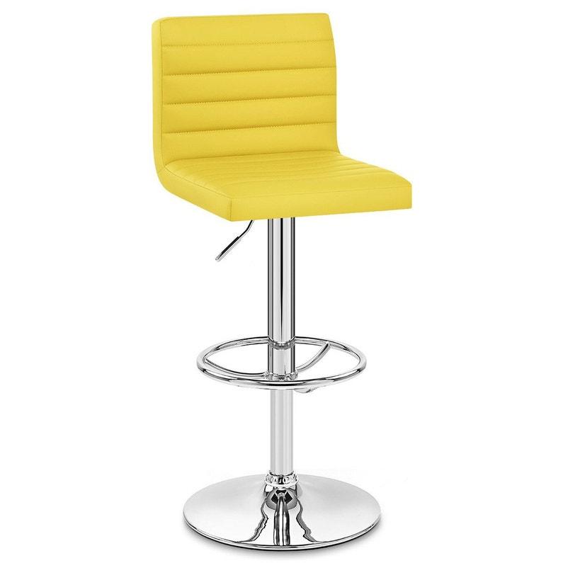 Tabouret de bar design, simili cuir, jaune, Mint