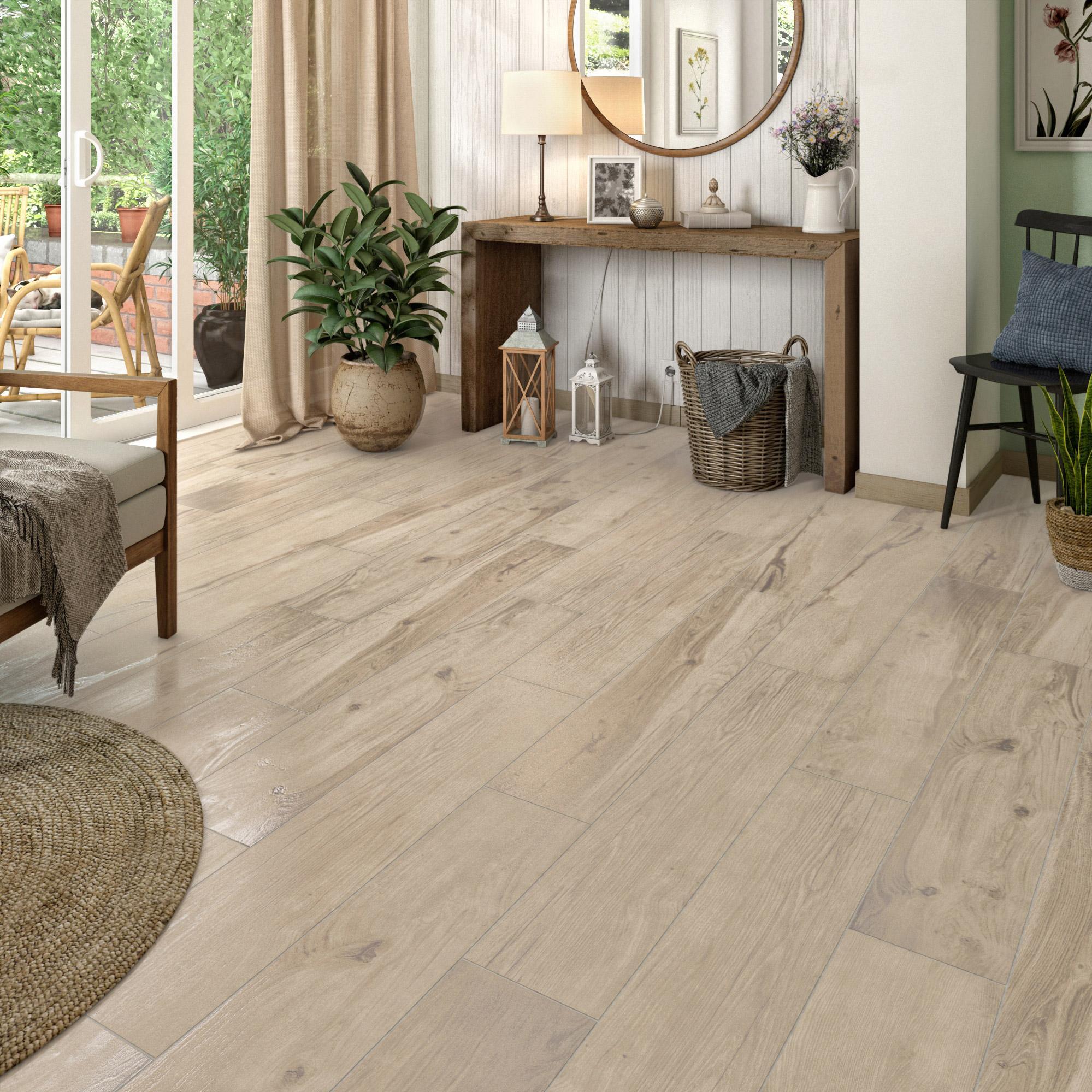Carrelage sol et mur forte effet bois gris clair Flore l.20.5 x L.100 cm
