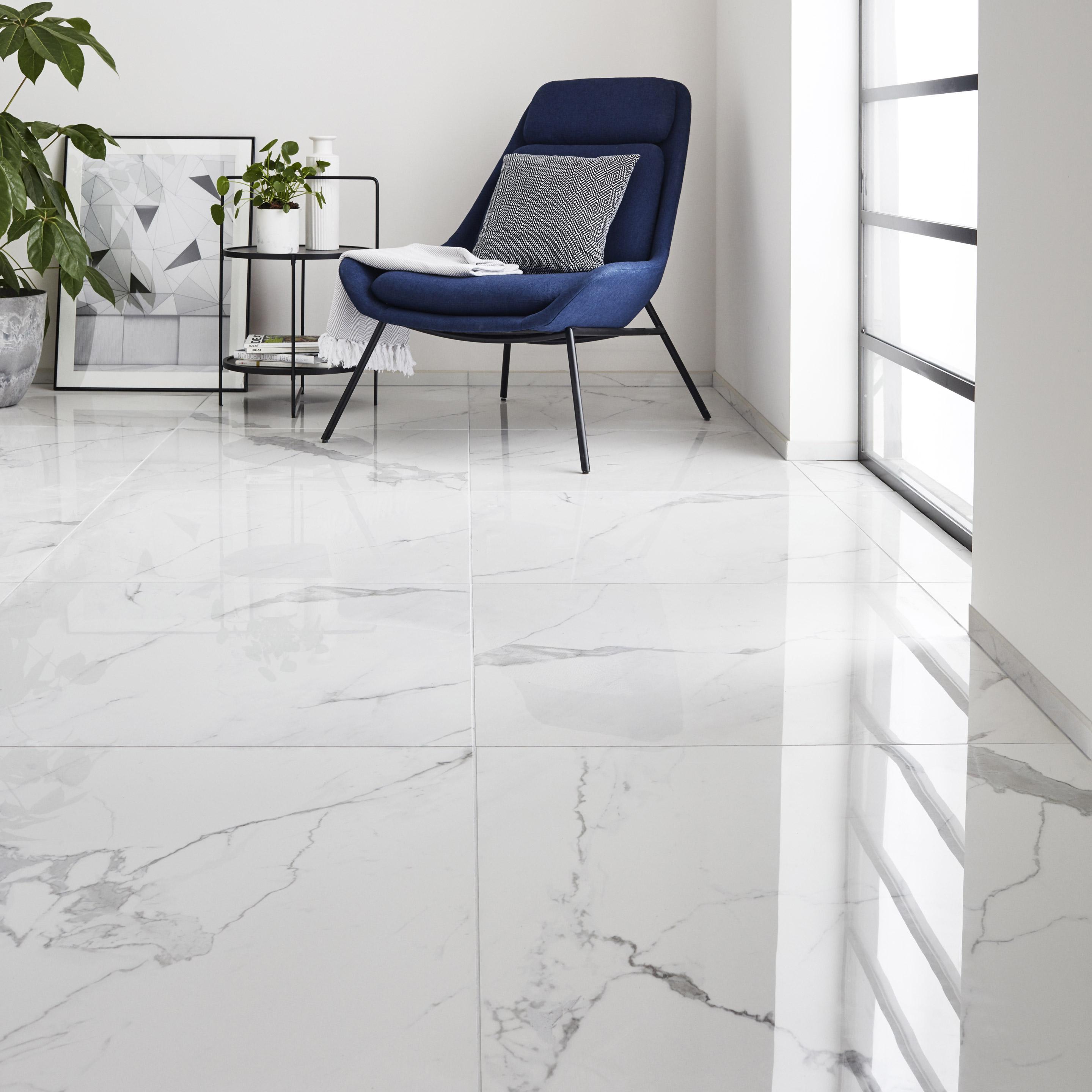 Carrelage sol et mur intenso effet marbre blanc Rimini l.80 x L.80 cm CERIM INSP