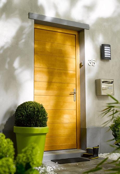 Porte d'entrée en bois contemporaine