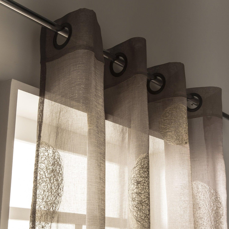 voilage tamisant 5 mondes taupe et beige x cm leroy merlin. Black Bedroom Furniture Sets. Home Design Ideas