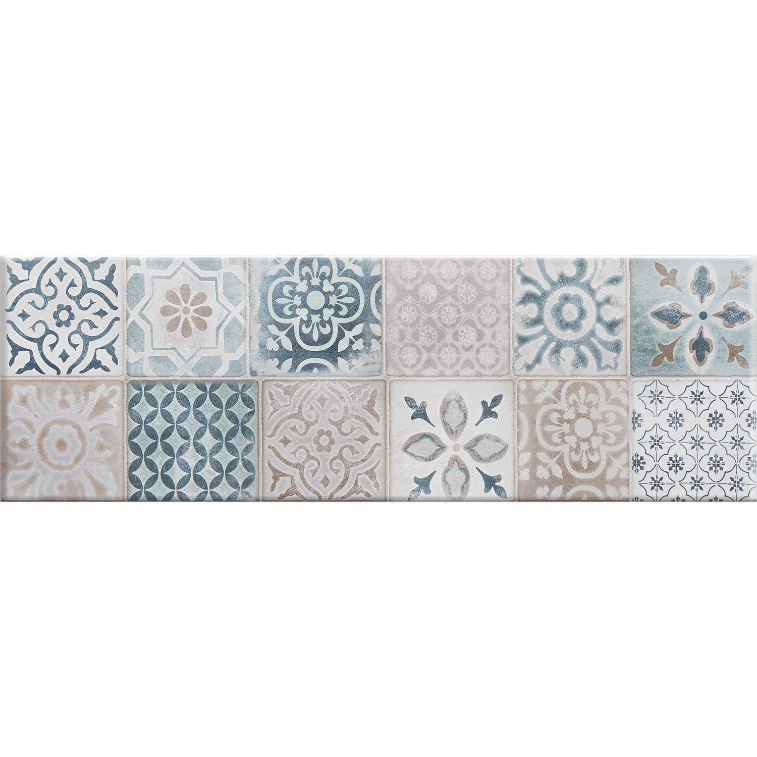 Fa ence mur blanc et bleu decor haussmann carreau ciment for Faience decorative murale