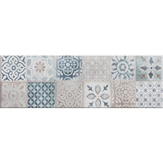 fa ence mur blanc et bleu decor haussmann carreau ciment x cm leroy merlin. Black Bedroom Furniture Sets. Home Design Ideas