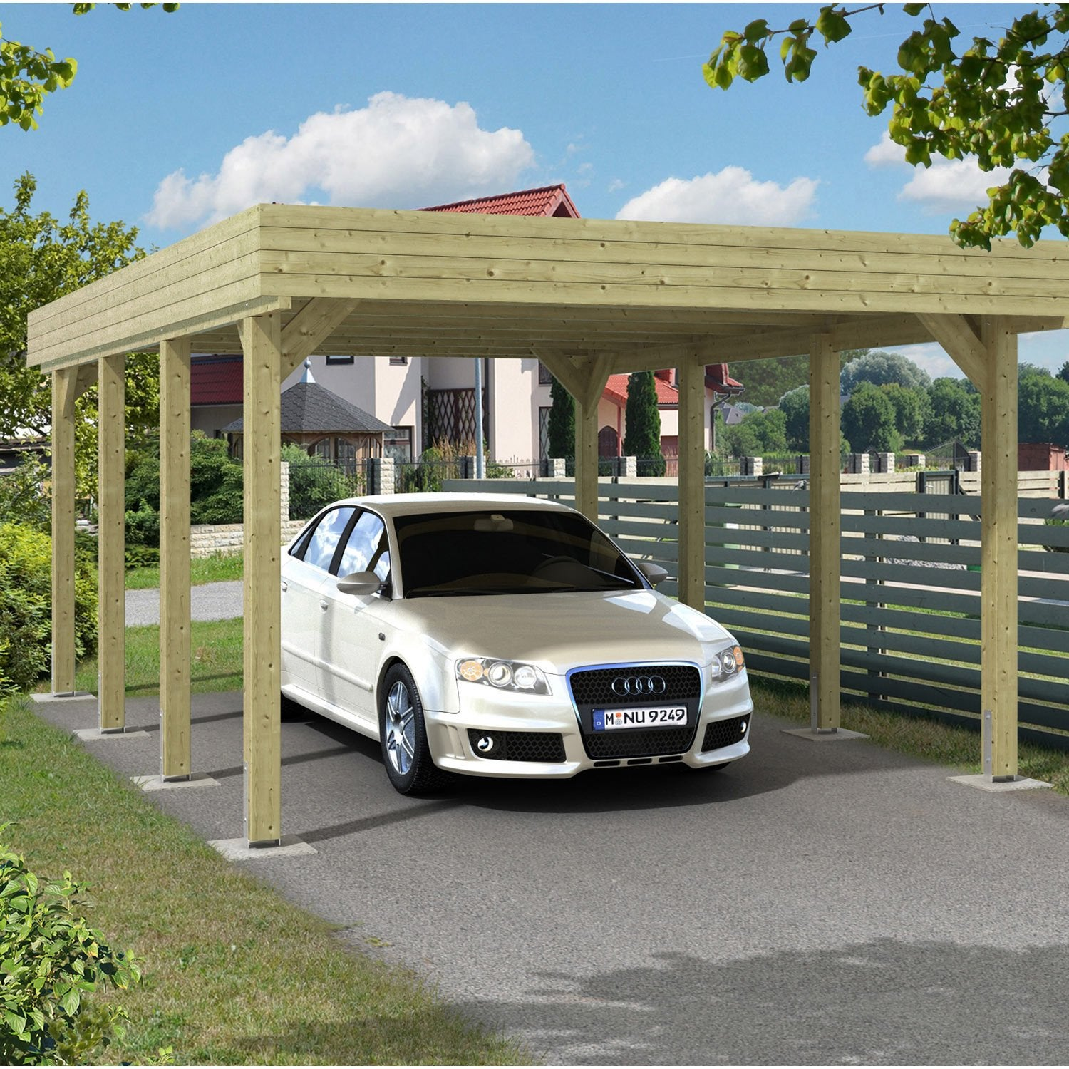 carport bois jaarma 1 voiture 18 5 m leroy merlin. Black Bedroom Furniture Sets. Home Design Ideas