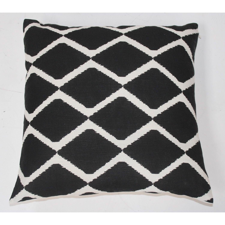 Coussin Ester, noir et blanc l.50 x H.50 cm