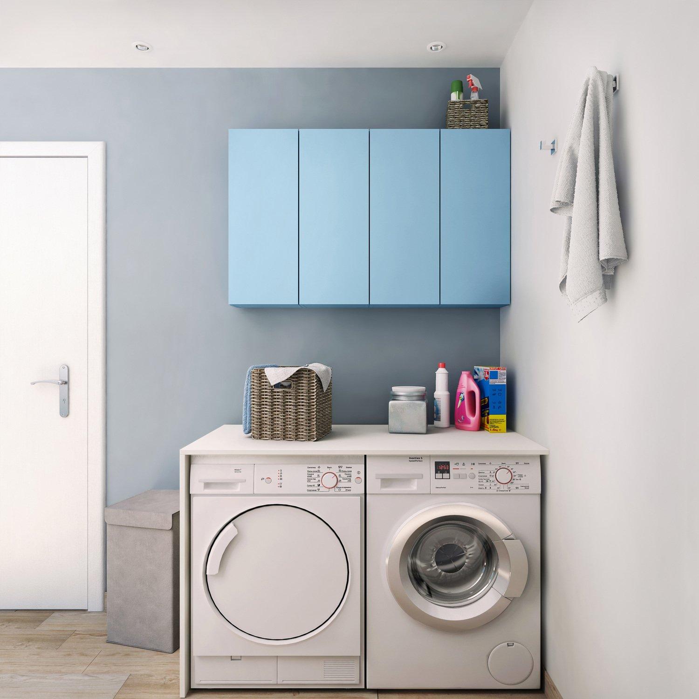 une buanderie avec des meubles de salle de bains leroy. Black Bedroom Furniture Sets. Home Design Ideas