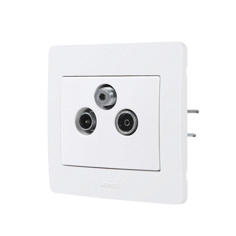 Prise Tv Fm Sat Complet Debflex Diam2 Blanc