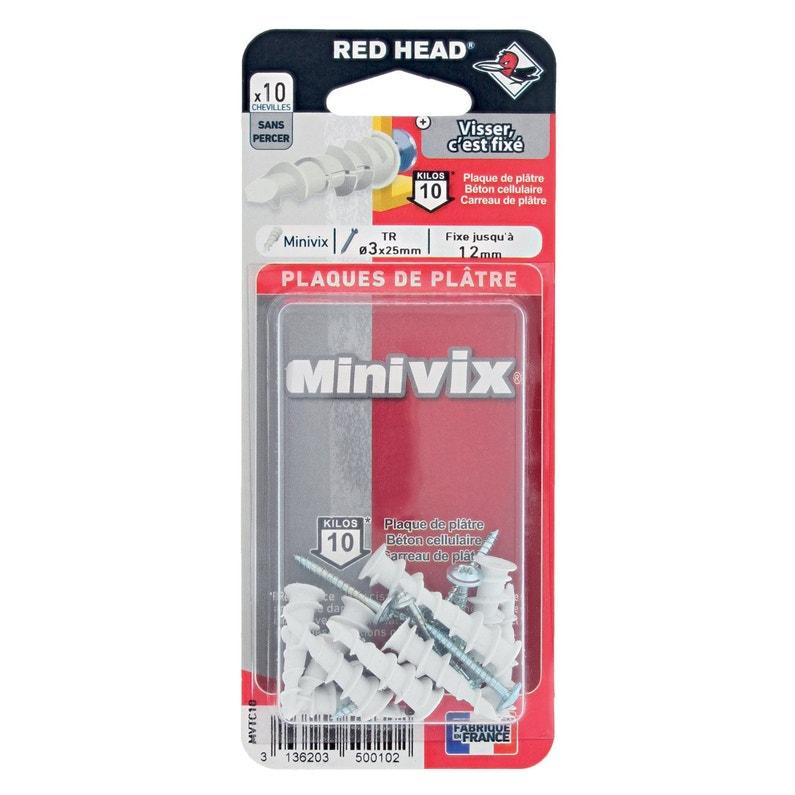 sélectionner pour le meilleur offres exclusives artisanat exquis Lot de 10 chevilles et vis à visser minivix RED HEAD, Diam.5 x L.25 mm