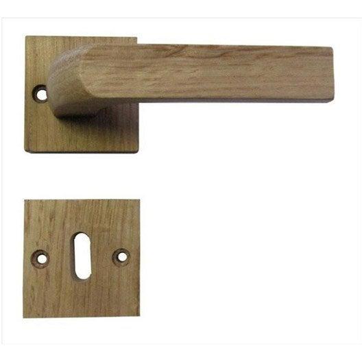 Poign es de porte en bois vernis s rie bjorn leroy merlin for Poignee de porte bois