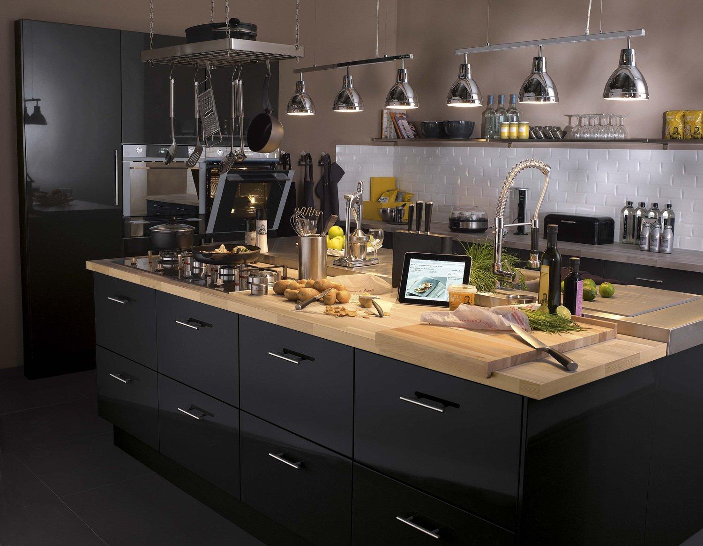Meuble Pour Ilot Cuisine un meuble de cuisine noir pour un ilôt ergonomique | leroy