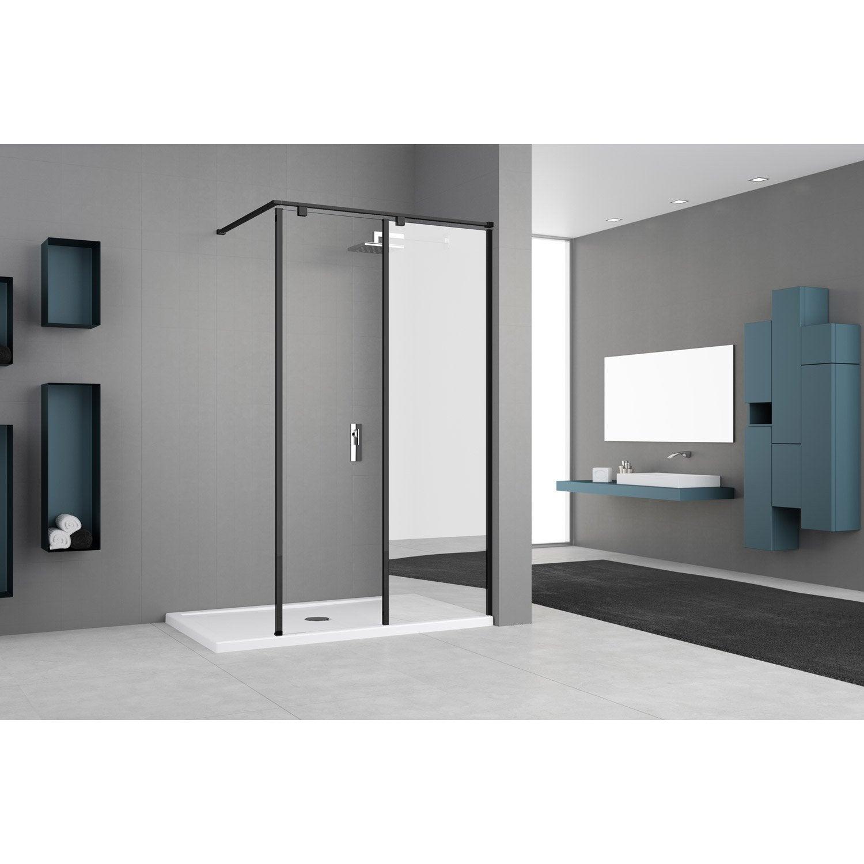 Paroi de douche à l'italienne, l.50 cm + l.50 cm verre miroir et transparent 8 m
