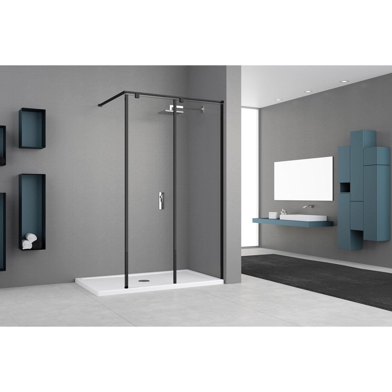 Paroi de douche à l'italienne, l.50 cm + l.50 cm verre transparent 8 mm Eliseo