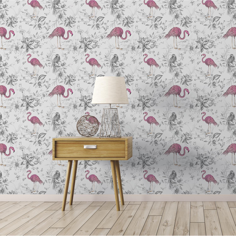 papier peint vinyle flamants rose papier peint intiss. Black Bedroom Furniture Sets. Home Design Ideas