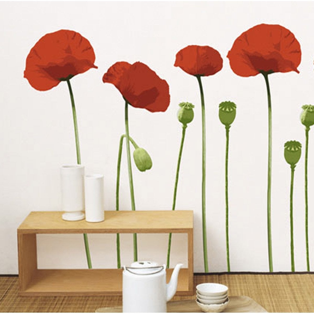 sticker coquelicot 49 cm x 69 cm leroy merlin. Black Bedroom Furniture Sets. Home Design Ideas