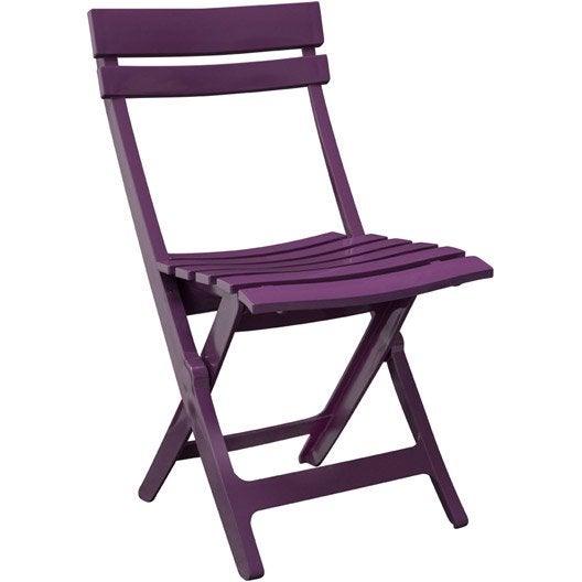 Chaise de jardin en r sine miami violet leroy merlin - Chaise de jardin en resine ...