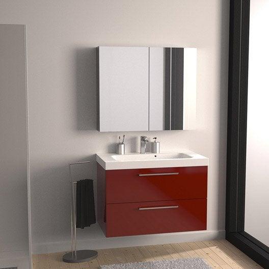 Meuble vasque 91 cm rouge, Remix | Leroy Merlin