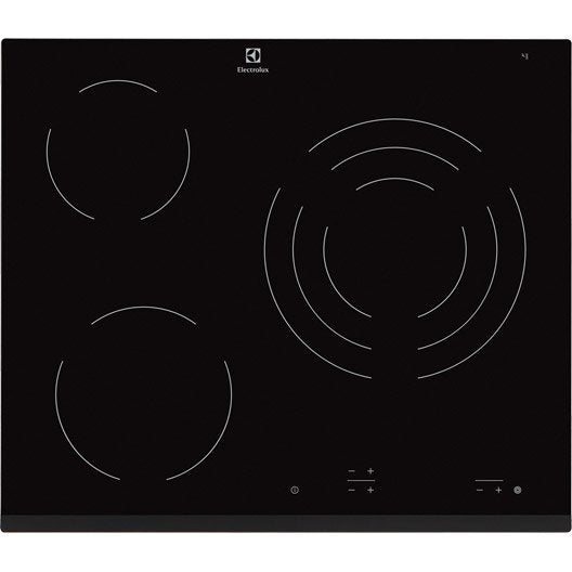 plaque vitroc ramique 3 foyers noir electrolux ehf6232fok leroy merlin. Black Bedroom Furniture Sets. Home Design Ideas