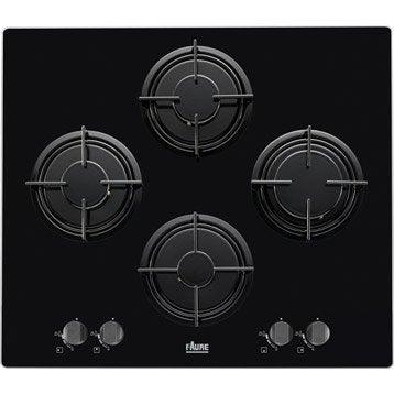 Plaque de cuisson gaz 4 foyers, noir, FAURE FGX65414BA