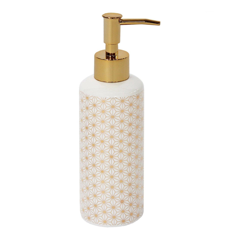 Distributeur de savon céramique Boheme or, blanc et or