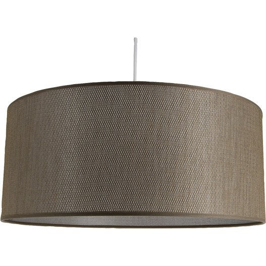 Suspension nature celeste tissus taupe 1 x 60 w for Suspension nature